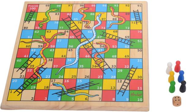 Hamleys Wooden Snakes and Ladders Board Game, Multi Color Party & Fun Games Board Game
