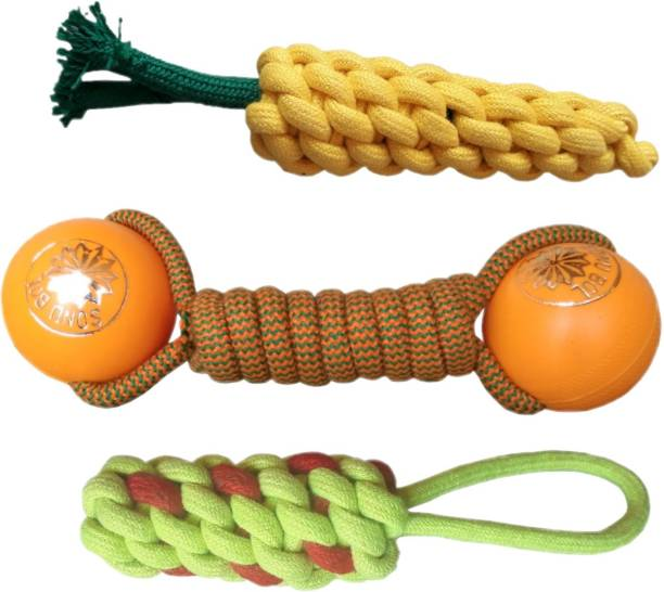 Pet Needs Combo of 3 Durable Pet Teeth Cleaning Chewing Biting Knotted Small Puppy Toys -100% Natural & Safe Cotton Cotton Chew Toy For Dog & Cat