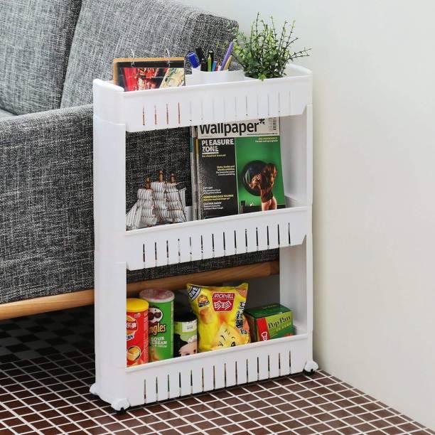 5ca64cd37a4 Flipzon 3 Tier Slim Multipurpose Storage Rack - Space Saving Storage  Organizer Rack Shelf with Wheels