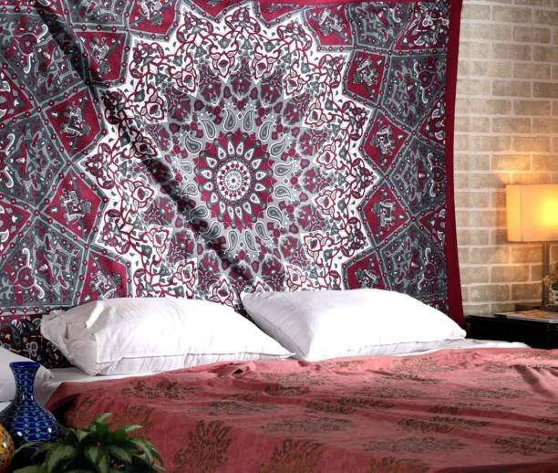 Tiger Exports Cotton Queen Size Double Bedsheetand wall hanging Living Room Cotton Mandala Tapestry