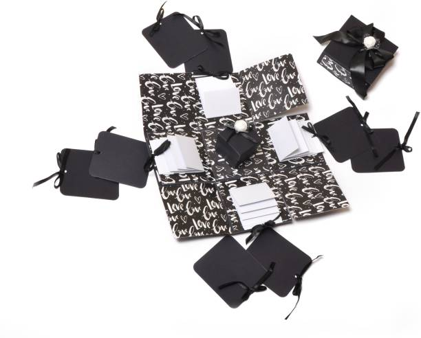 Crafted with passion Black and white explosion box for valentine's day birthday anniversary Greeting Card