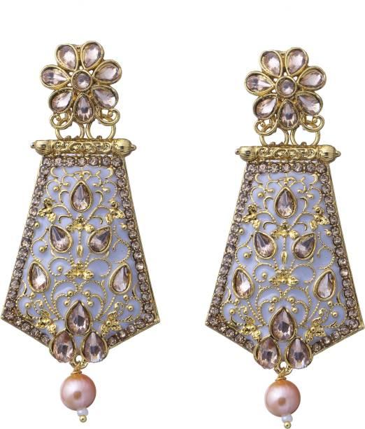 146792375 Adorn Gold Plated Beautifully Enamelled Pearl CZ Dangler Earrings For  Girls/Women Metal Drops &