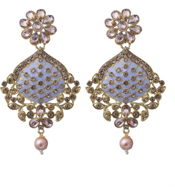 b0a3120fd69 Adorn Gold Plated Beautifully Enamelled Pearl CZ Dangler Earrings For  Girls Women Metal Drops