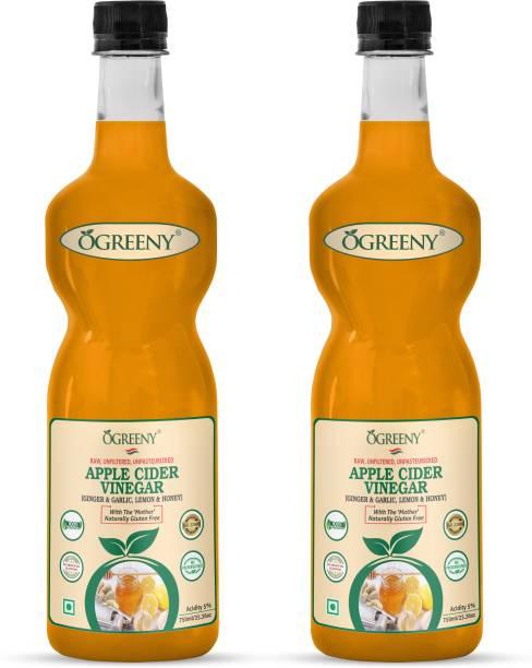 OGREENY Apple Cider Vinegar with Mother And Garlic,Ginger,Lemon And Natural Honey Vinegar