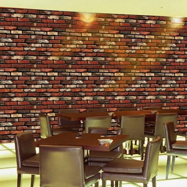 University Trendz Modern Brick Stone Style 3D Wall Poster, Wallpaper, Wall Sticker, PVC Adhesive Home Decor Stickers (200 x 45 cm)