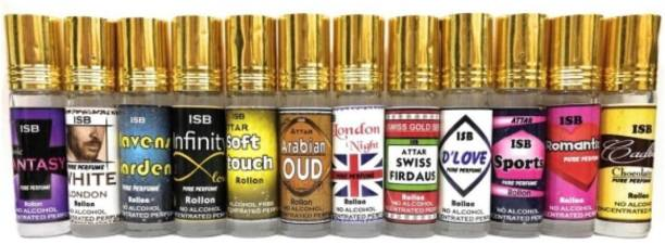 INDRA SUGANDH 12 Most Popular Choice 12 Pc. Combo ~ NEW COLLECTION (Classic Fantasy, While London, Heavens Garden, Infinity Love, Soft touch, Arabian Oudh, London Night, Swiss Firdaus, D'love, Sports, Romantic, Cadbury) PERFUME FOR MEN 24 HOURS Long Lasting Fragrance Pure Perfume Herbal Attar