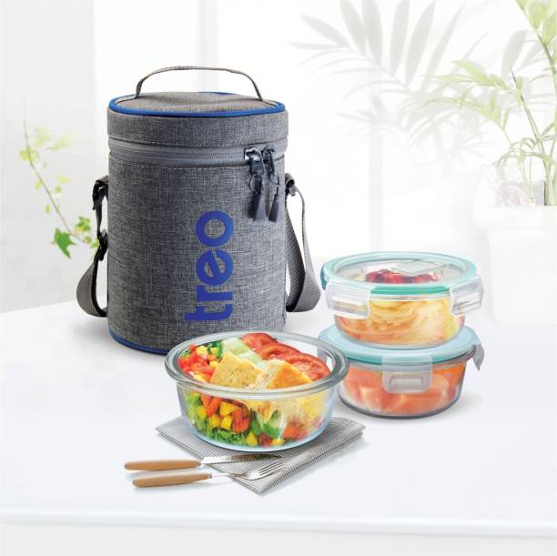 TREO ALL FRESH BOROSILICATE GLASS TIFFIN 3PCS SET 3 Containers Lunch Box