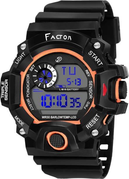 df8ede91a99c1 Factor FR-G585-DLORANGE Factor Sports Water Resistance Original Black  Collection Digital Watch -
