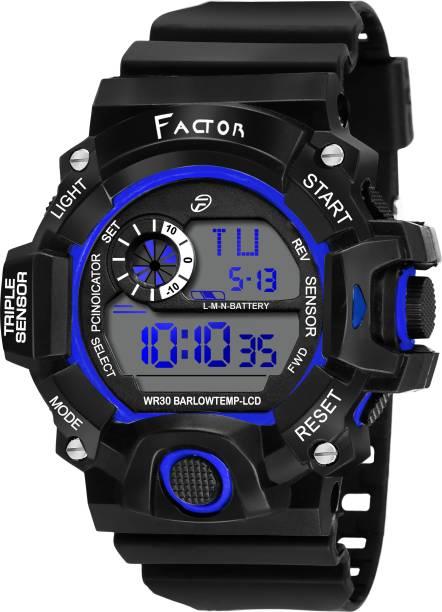 24a7b4b3bffe12 Factor FR-G587-BLCIRCLE Factor Sports Water Resistance Original Black  Collection Digital Watch -