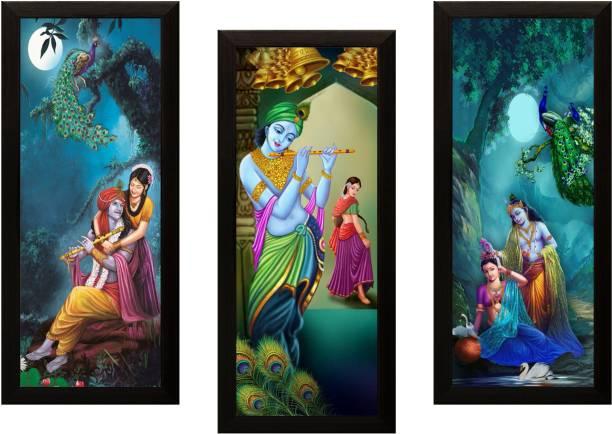 0901633026e SAF SET OF 3 RADHA KRISHNA Digital Reprint 17 inch x 24 inch Painting