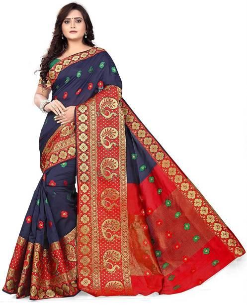 12536db2d S.B Creation Woven Kanjivaram Cotton Saree