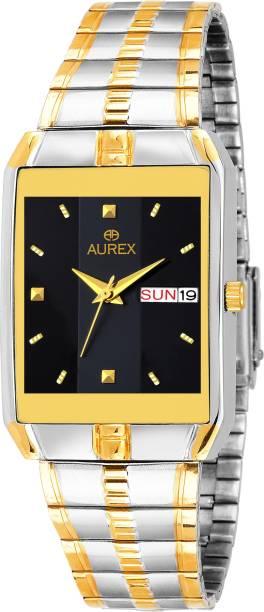 9309fbdcd AUREX AX-GSQ128-BKSG Original Black Dial Working Day   Date Display Gold  Plated