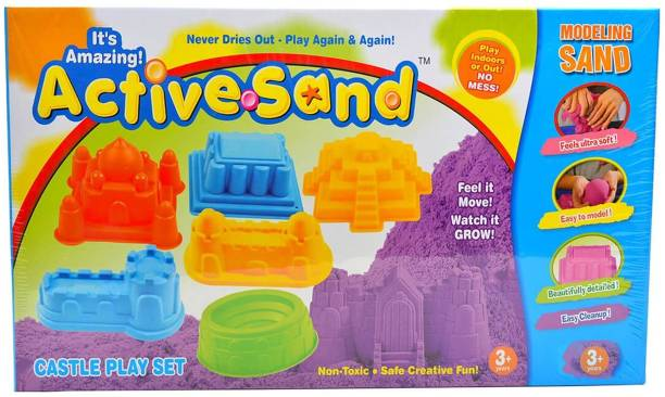 Ekta Active Sand Castle Play Set Modeling Sand Never Dries Out for Kids.