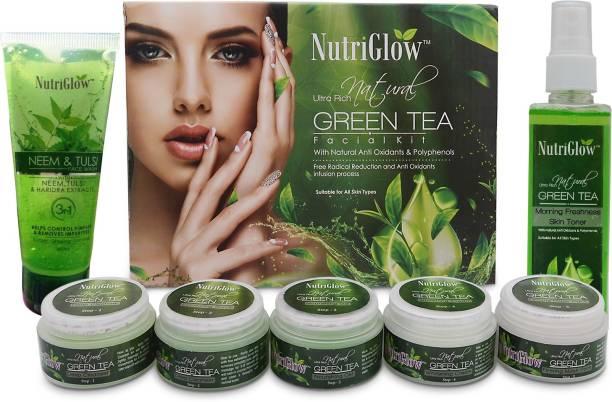 NutriGlow Green tea facial kit / Neem Tulsi Face wash and Green Tea toner/ Antioxidant Face Treatment
