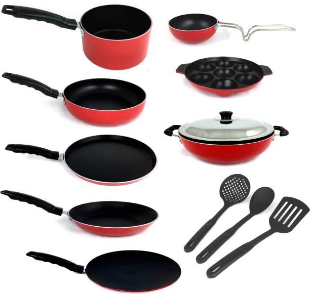 KUMAKA KUMAKA Premium Quality Gas-Compatible Non-Stick 12 pieces Cookware Set - RED Cookware Set
