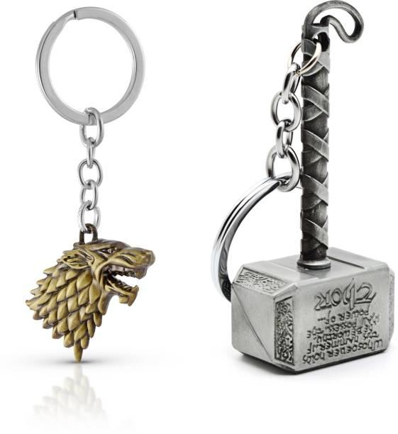 Gold Era Thor Infinity War Hammer Keychain Marvel Keychain & Game of Thrones GOT Keychain Combo Key Chain