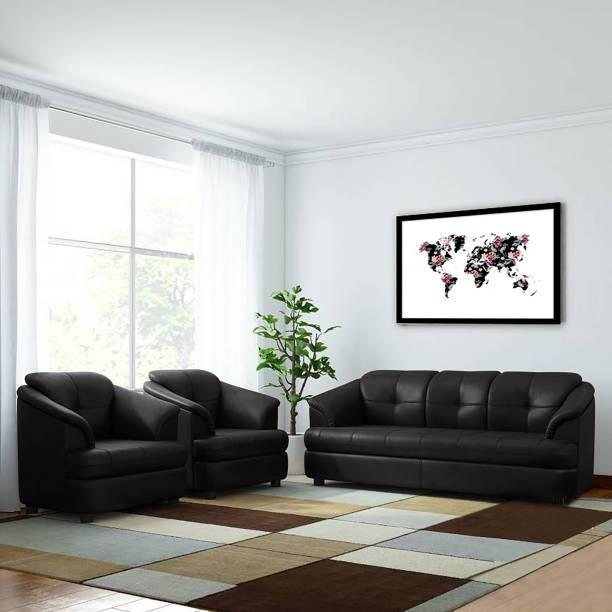 Bharat Lifestyle Gayana Leatherette 3 + 1 + 1 Black Sofa Set