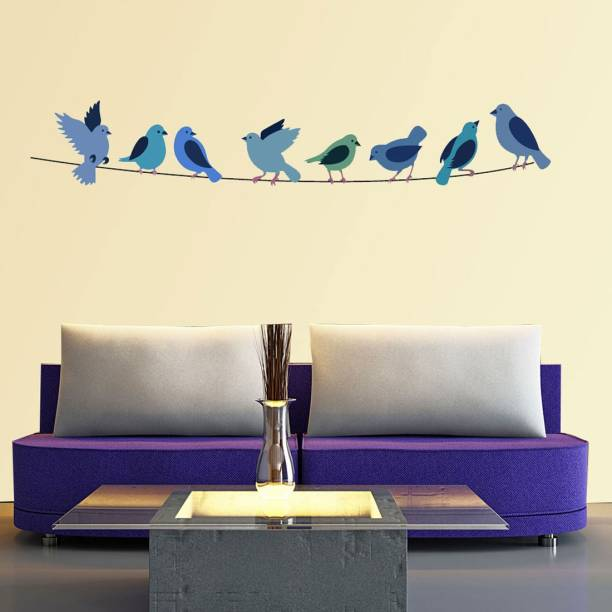 New Way Decals Wall Sticker Small (3607) colourful birds in a swing