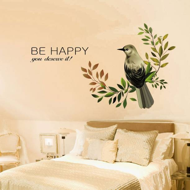 New Way Decals Wall Sticker Medium (4609) happy bird with be happy quotes