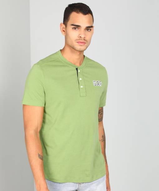 GAP Solid Men Henley Green T-Shirt