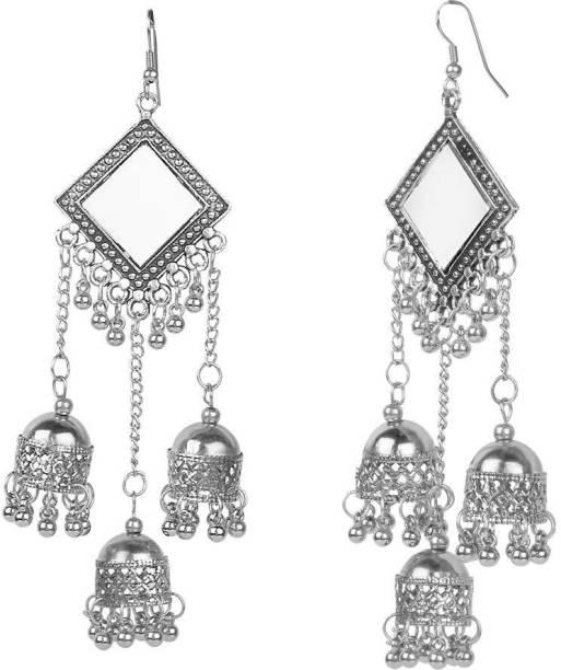 c0254605e Nityakshi Afghani Kashmiri Oxidized Silver tripple With Mirror jhumki Long  Earrings German Silver Jhumki Earring,