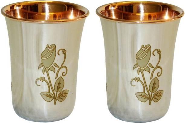 Indian Craft Villa (Pack of 2) Handmade Flower Design Steel Copper Glass Glass Set