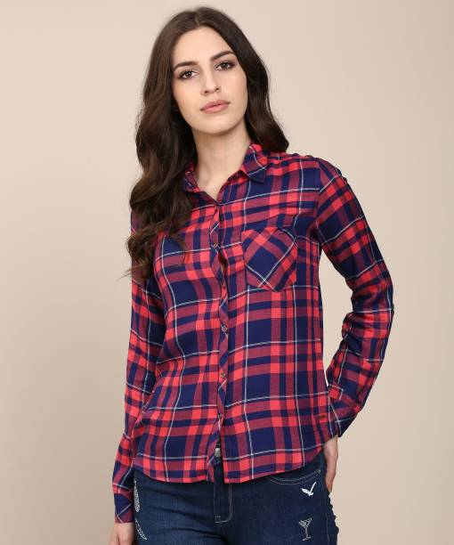 96fb47b066 Flying Machine Women Checkered Casual Multicolor Shirt
