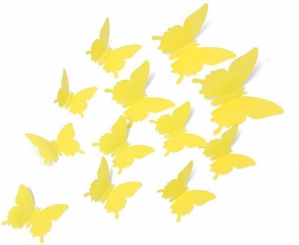 Jaamsoroyals Small DIY 3D Butterfly Wall Sticker Art Decal PVC Paper- 12pcs (Yellow) Wall