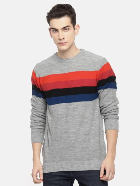MAST & HARBOUR Striped Round Neck Casual Men Grey Sweater