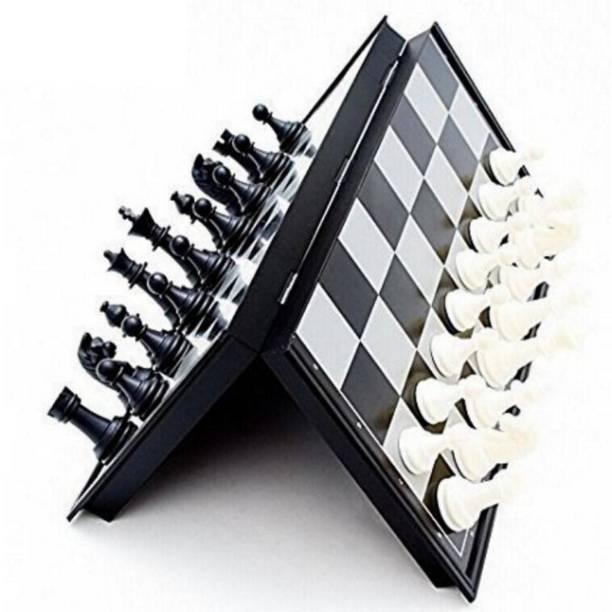 AGAMI MAGNETIC BLACK & WHITE PREMIUM QUALITY FOLDING CHESS Board Game Accessories Board Game