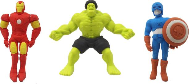 Parteet New Avenger Erasers Set of 3-for Birthday Party for Kids Non-Toxic Eraser