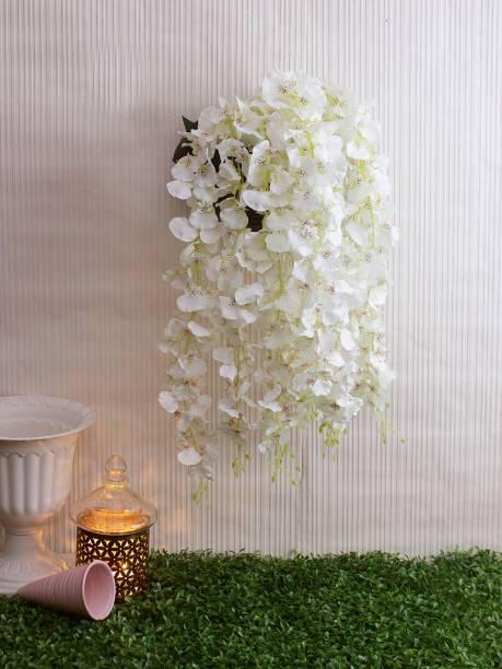 FOURWALLS Artificial Hanging Dancing Orchid Flower Bush White Orchids Artificial Flower