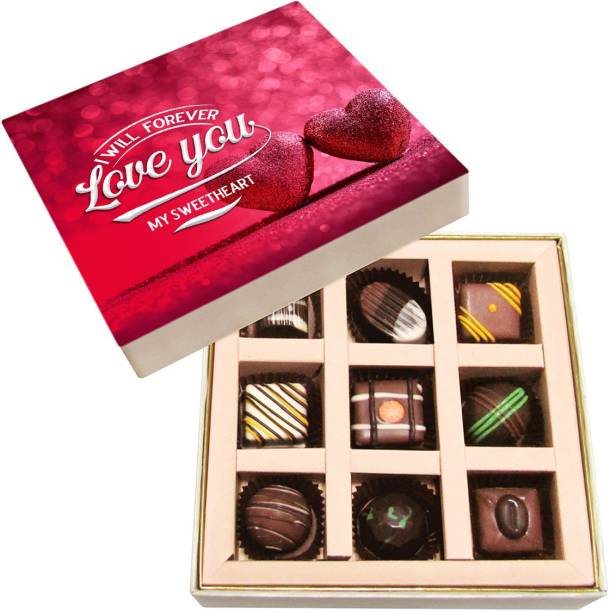 Chocholik Valentines Day Gift Box - Stick with Me, Valentine Belgium Chocolate Box - 9pc Truffles