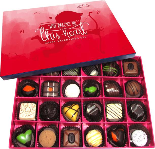 Chocholik Valentines Day Gift Box - Heart to Heart - Sharing and Growing Together Belgium Chocolate Box - 24pc Truffles