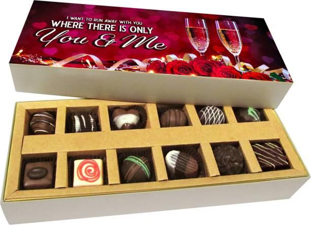 Chocholik Valentines Day Gift Box - Everything Will Be Fine, Be My Valentine Belgium Chocolate Box - 12pc Truffles