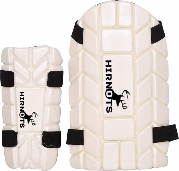 HIRNOTS Cricket Men's Elbow + Thigh Safety Guard/Pad, Moulded Combo(White, Standard Size) Cricket Guard Combo