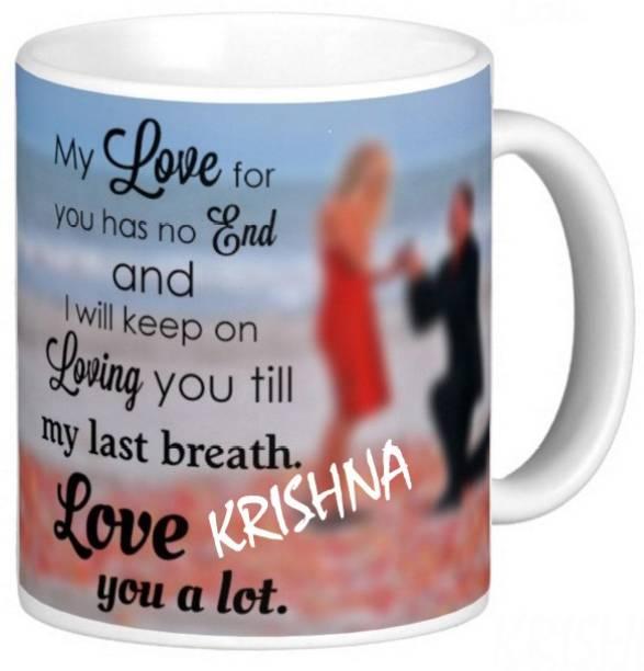 Exocticaa LOVE QUOTES COFFEE MUG LQV 115KRISHNA Ceramic Coffee Mug