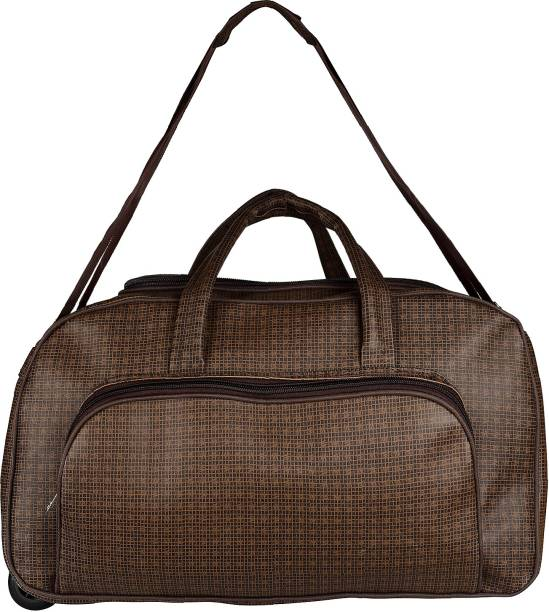 ccb8ff8ac2 Muccasacra Stylish Durable and Spacious Shaded Browny Trolley Duffel Bag  Length 23 Inches Small Travel Bag