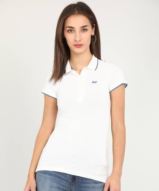 GAP Solid Women Polo Neck White T-Shirt