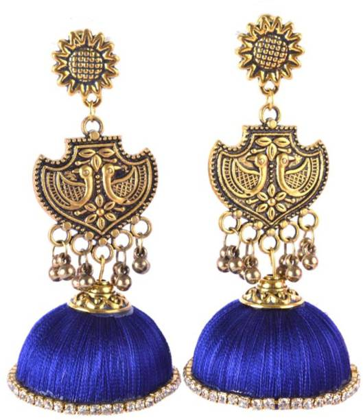 024543363ddbc0 DarkLady Blue Silk Thread Long Golden Stud Jhumka Earring Glossy Finish  Beads Fabric Jhumki Earring