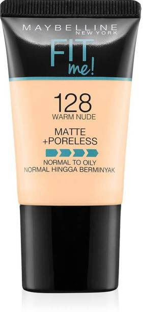 MAYBELLINE NEW YORK Fit Me Matte+Poreless Liquid Foundation Tube, 128 (WARM NUDE) Foundation
