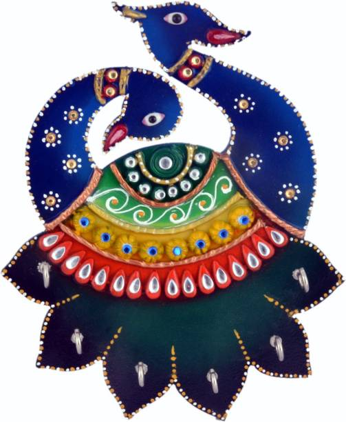 Janki Janki Handmade Handicraft Wooden Peacock Rajasthani Kundan Art Work key holder key stand for home for office Wood Key Holder