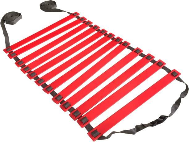 DE JURE FITNESS Adjustable Grey Red Agility Ladder 6M Strap 12 Rungs Set Speed Ladder