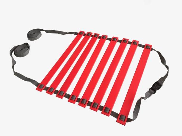 DE JURE FITNESS Adjustable Grey Red Agility Ladder 4M Strap 8 Rungs Set Speed Ladder