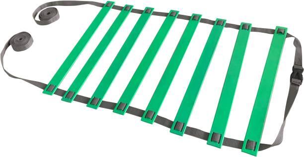 DE JURE FITNESS Adjustable Grey Green Agility Ladder 4M Strap 8 Rungs Set Speed Ladder