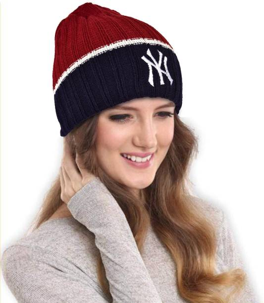 beeb5f66e0716 DRUNKEN NY Women s Winter Cap for Women Winter Beanie Warm Knitt Woollen Cap  (Red Navy