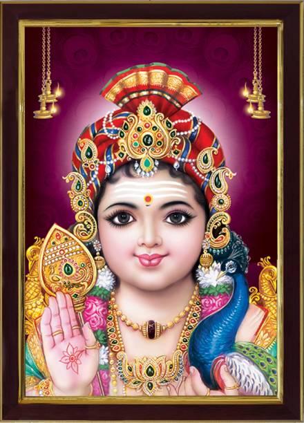 SAF Lord Murugan Swamy Kartikey Sparkle Coated Digital Reprint 13.25 inch x 9.25 inch Painting