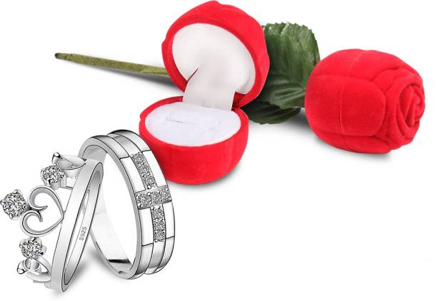 4864be9a0e The Bling Stores King and Queen Silver Couple Ring with Red Rose Gift Box  for Boyfriend
