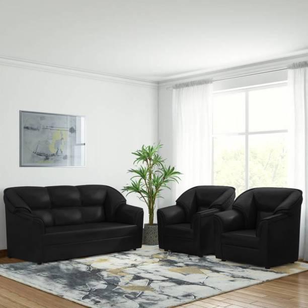 Bharat Lifestyle Riyan Leatherette 3 + 1 + 1 Black Sofa Set