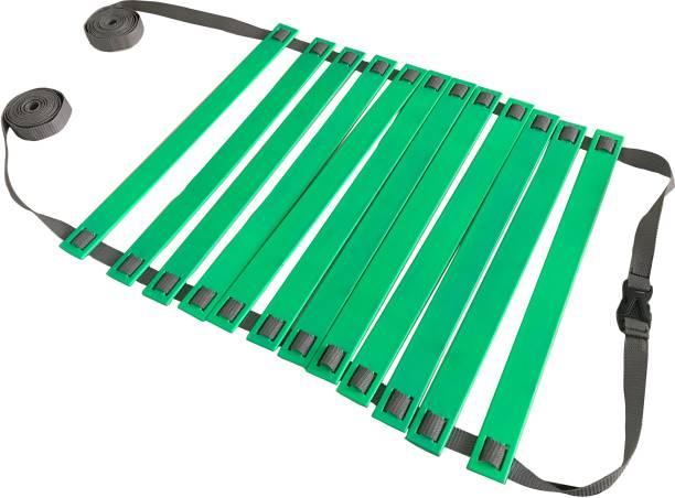 DE JURE FITNESS Adjustable Grey Green Agility Ladder 6M Strap 12 Rungs Set Speed Ladder